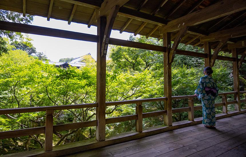 臥雲橋から東福寺通天橋を眺める浴衣の女性